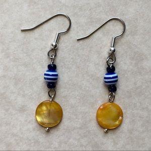 Yellow Blue Earrings Glass Shell Beaded Silver Ton
